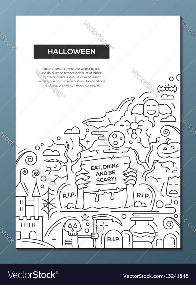 Halloween - line design brochure poster template