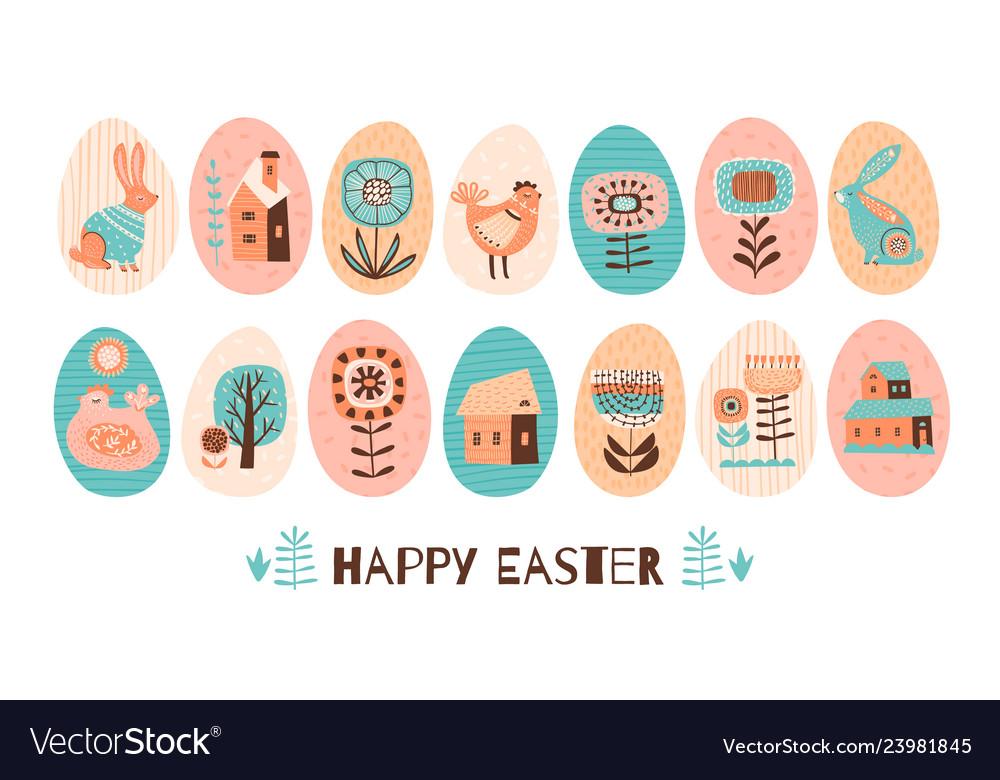 Happy easter set easter eggs