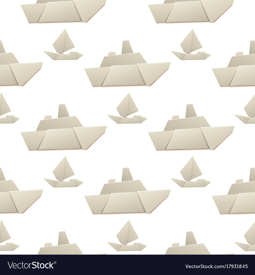 Origami logistic paper boat transport seamless