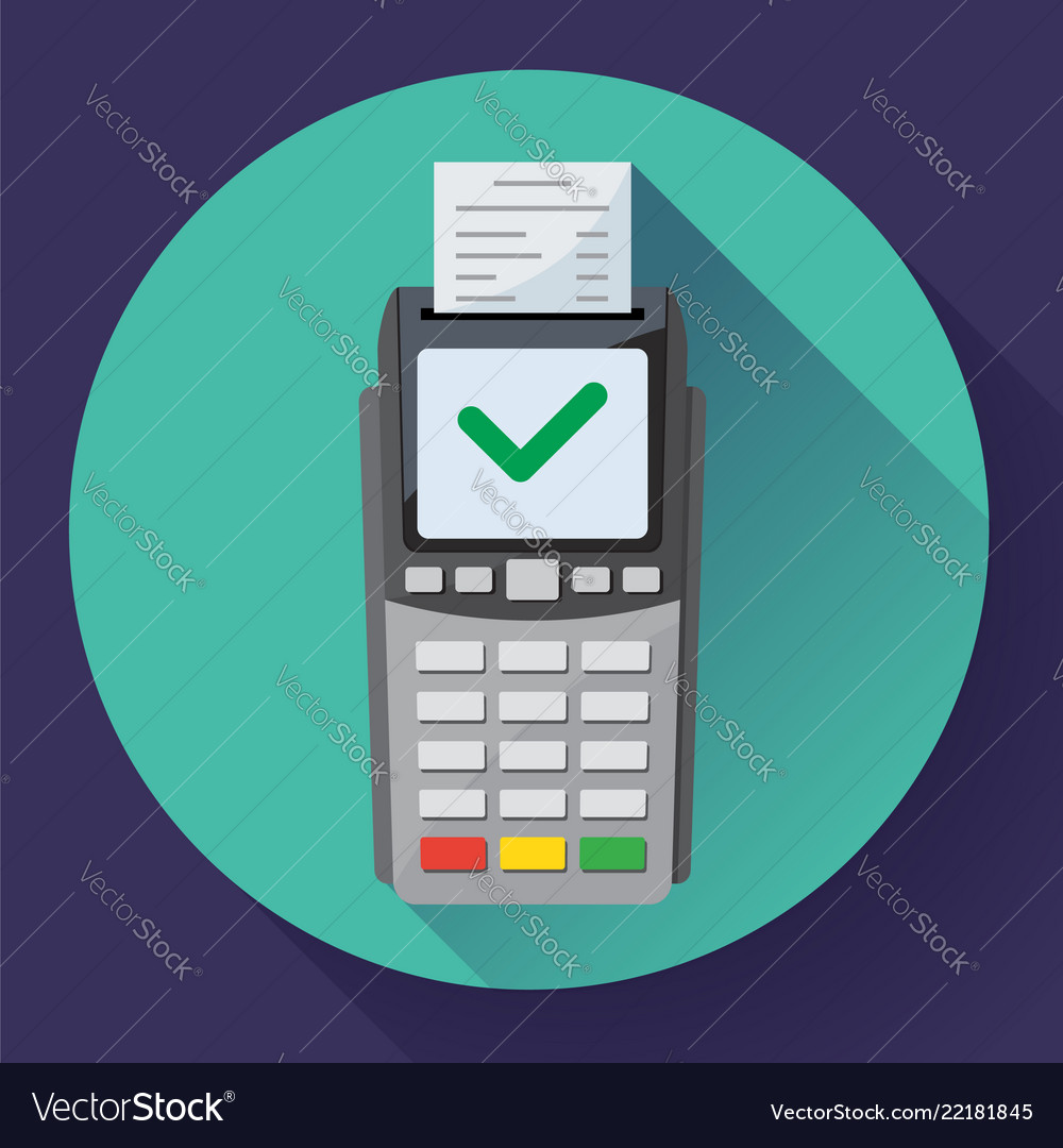 Payment machine and credit card terminal icon in