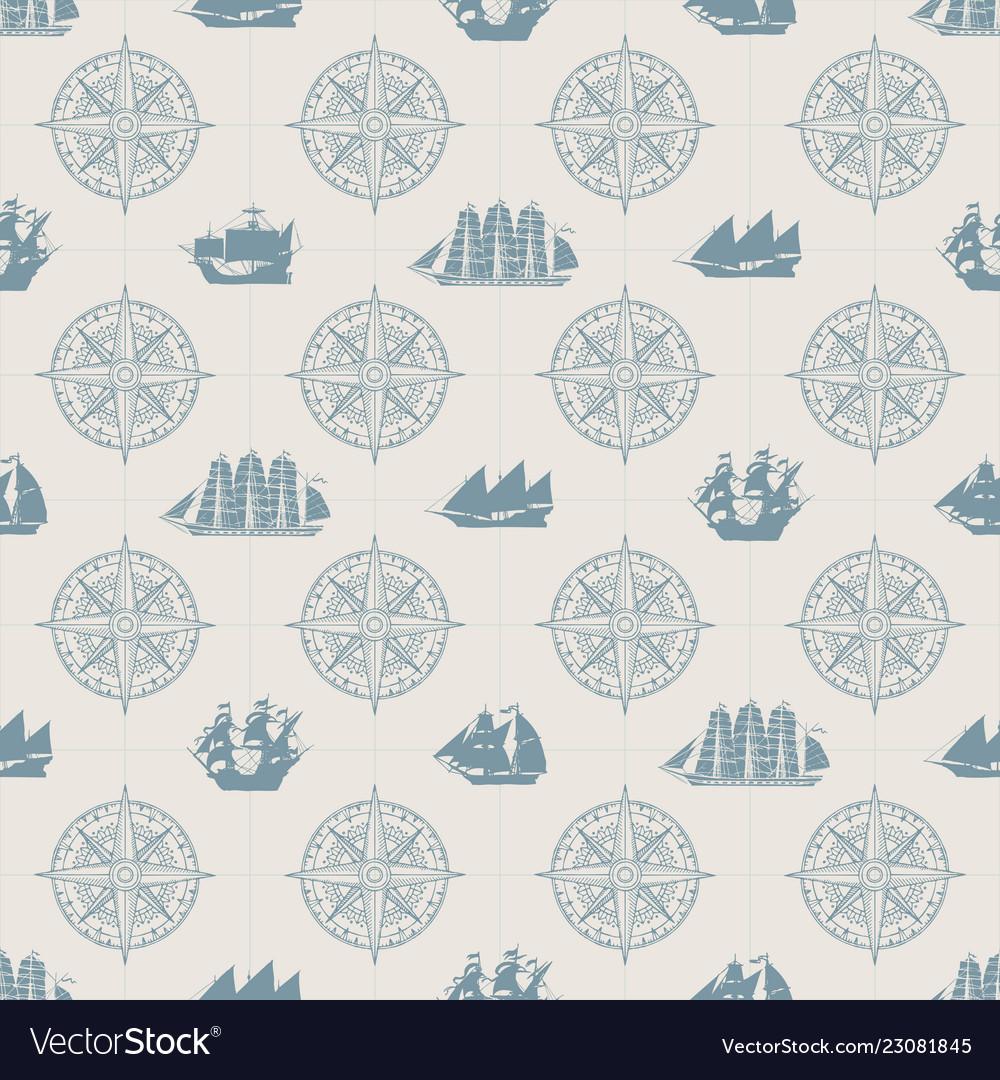 Seamless background on theme sea travel
