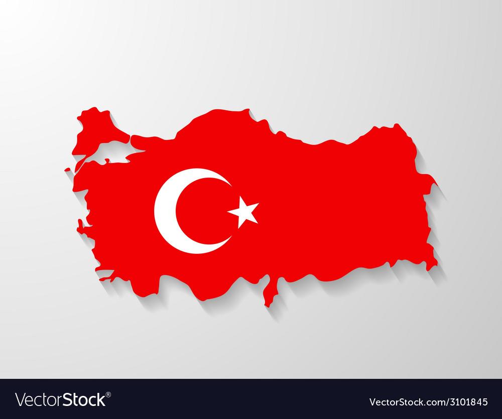 Turkey flag map with shadow effect