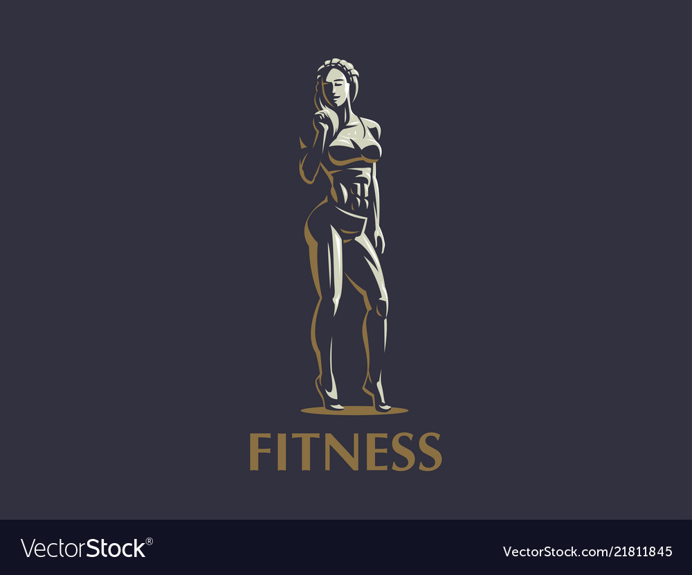 Woman fitness emblem