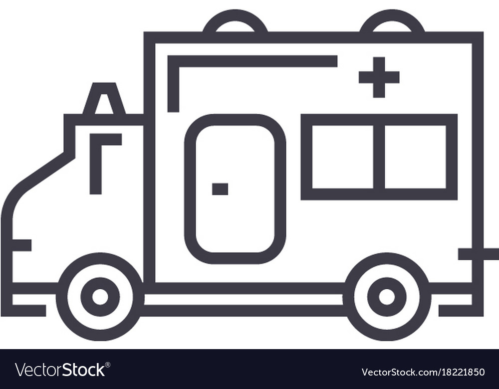 Ambulance linear icon sign symbol on vector image