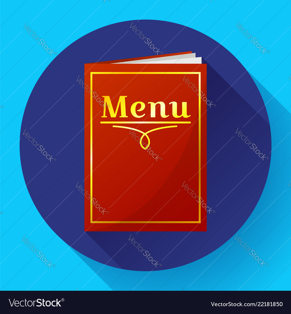 Cafe restaurant red menu book icon in flat style