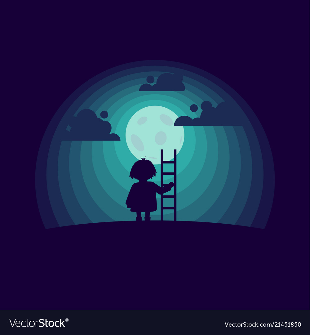 Child with a stepladder on the moon background