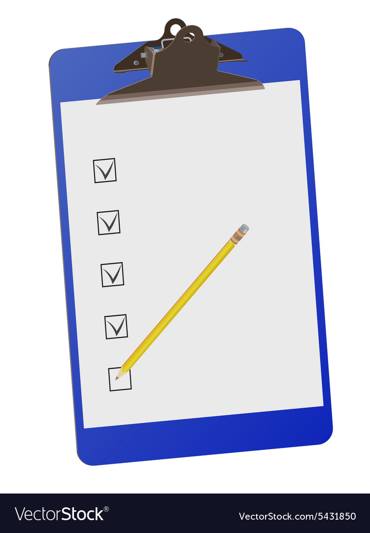 Clipboard with checklist and pencil