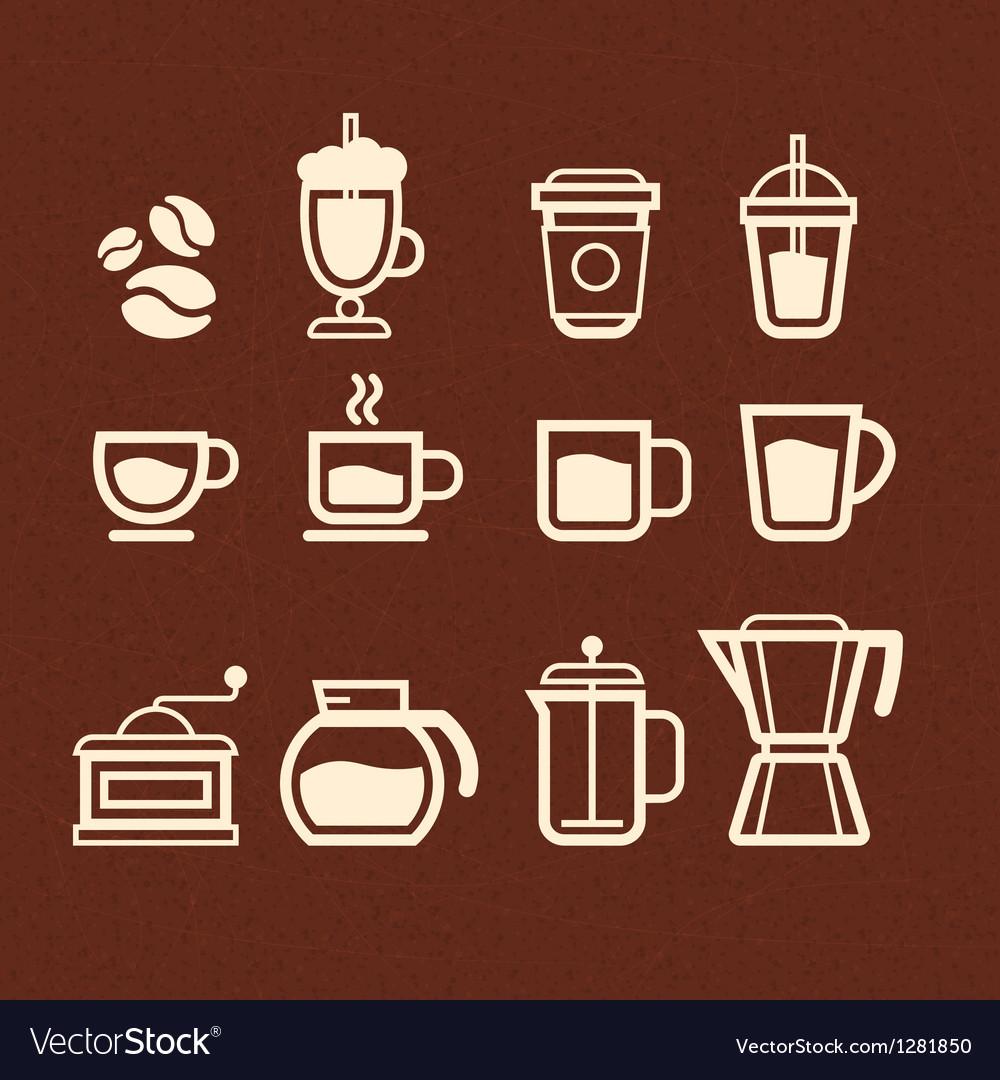 Coffee Tea and Drinks icons set vector image