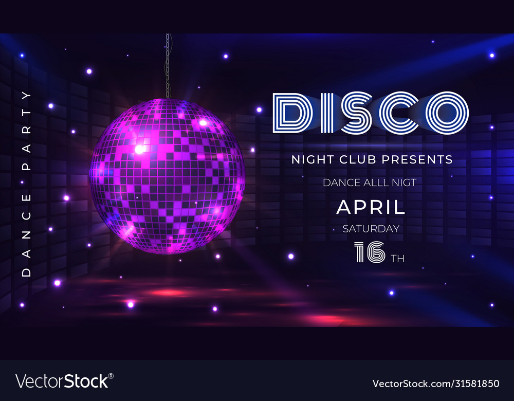 Disco party poster dance and music night party