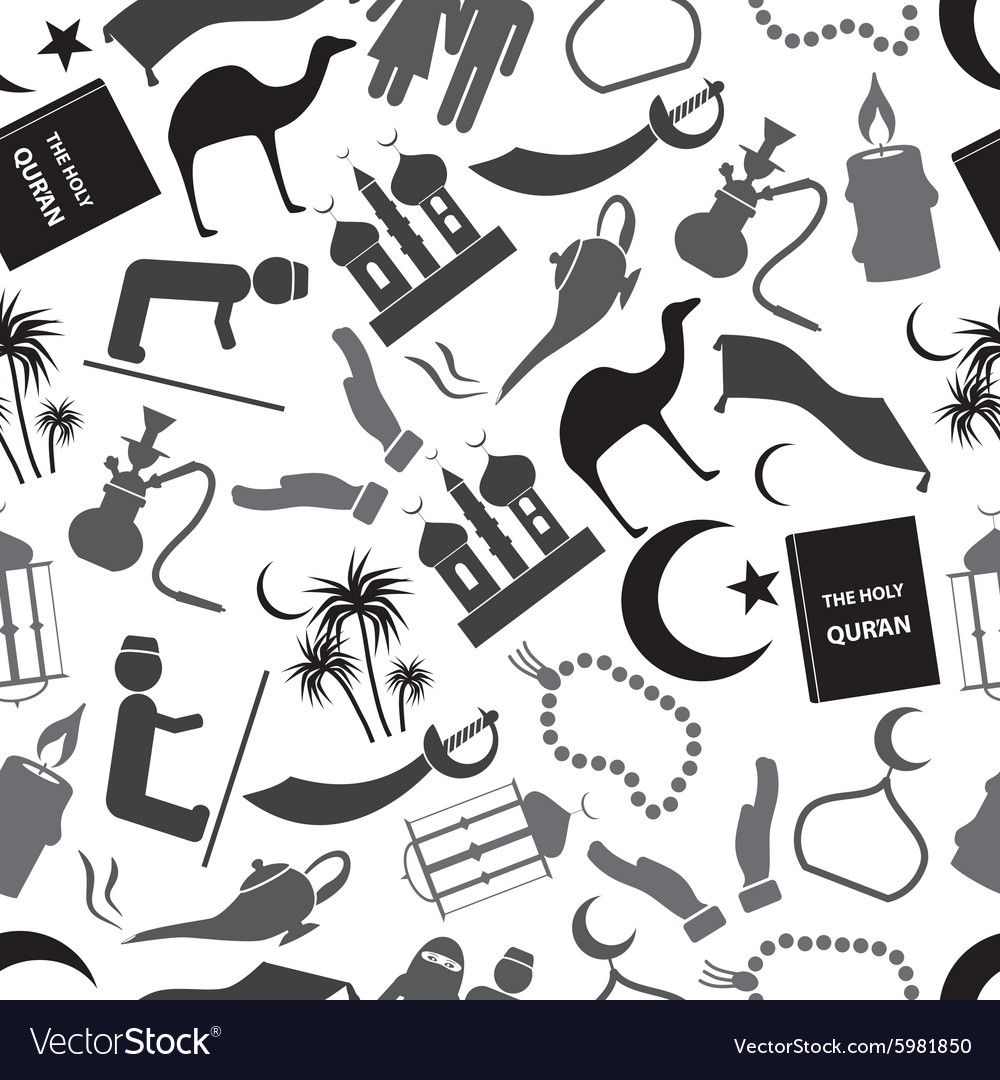 Islamic religion simple gray icons seamless vector image