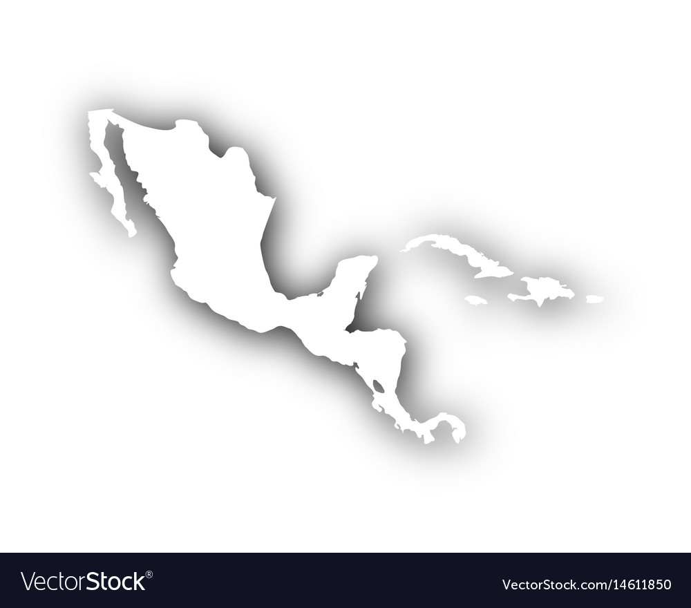 Map of central america and the carrbean with