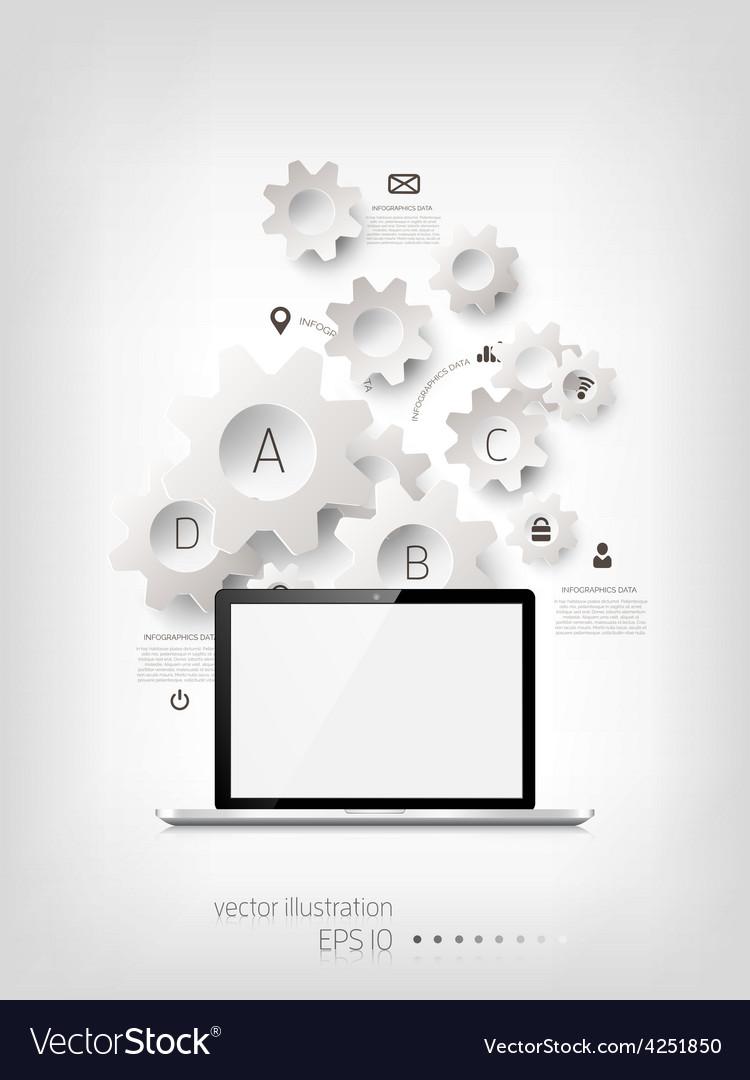 Realistic detalized flat laptop
