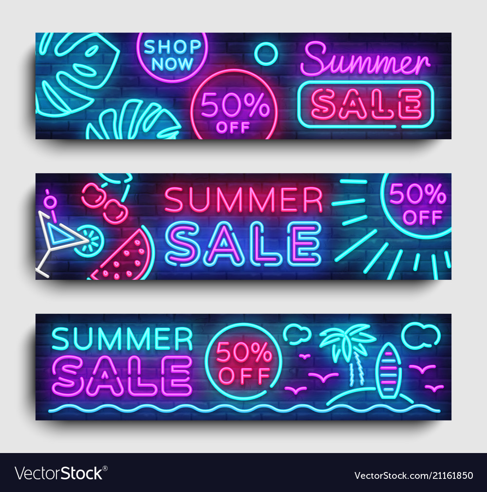 Summer sale neon collection horizontal banner