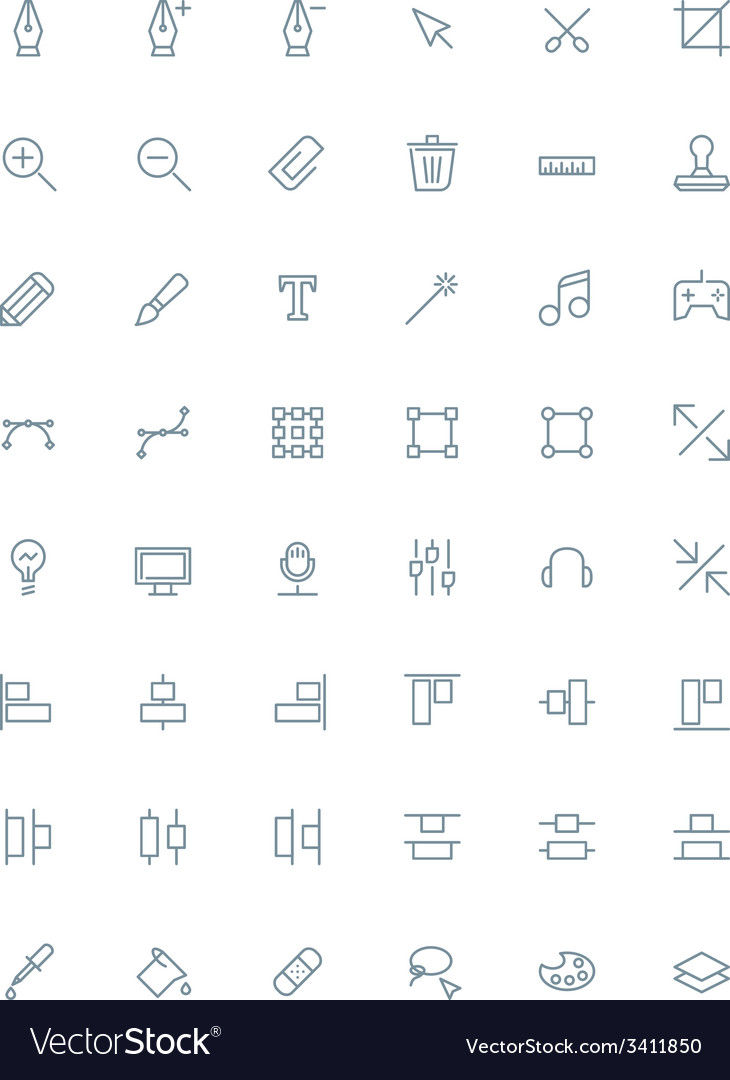 Thin line design tools icons set for web and