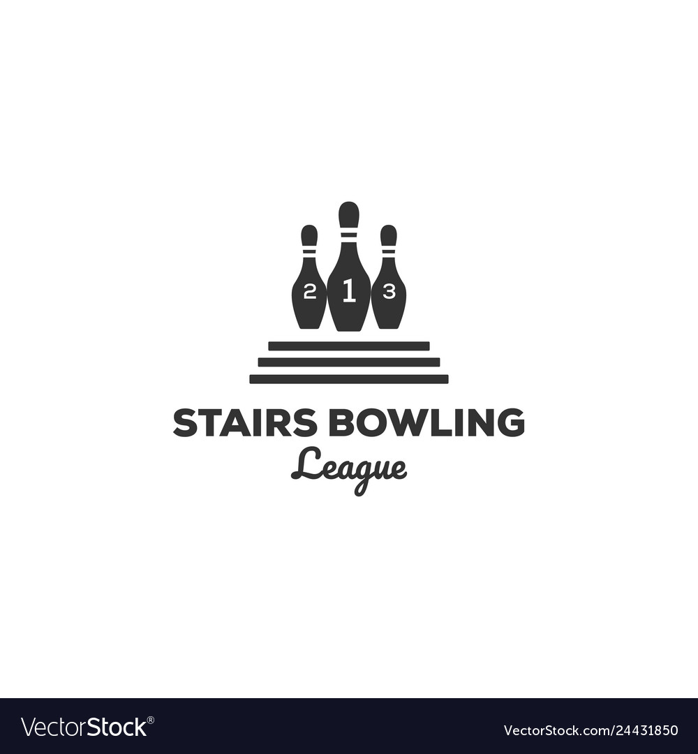 Vintage bowling logo designs with stairs