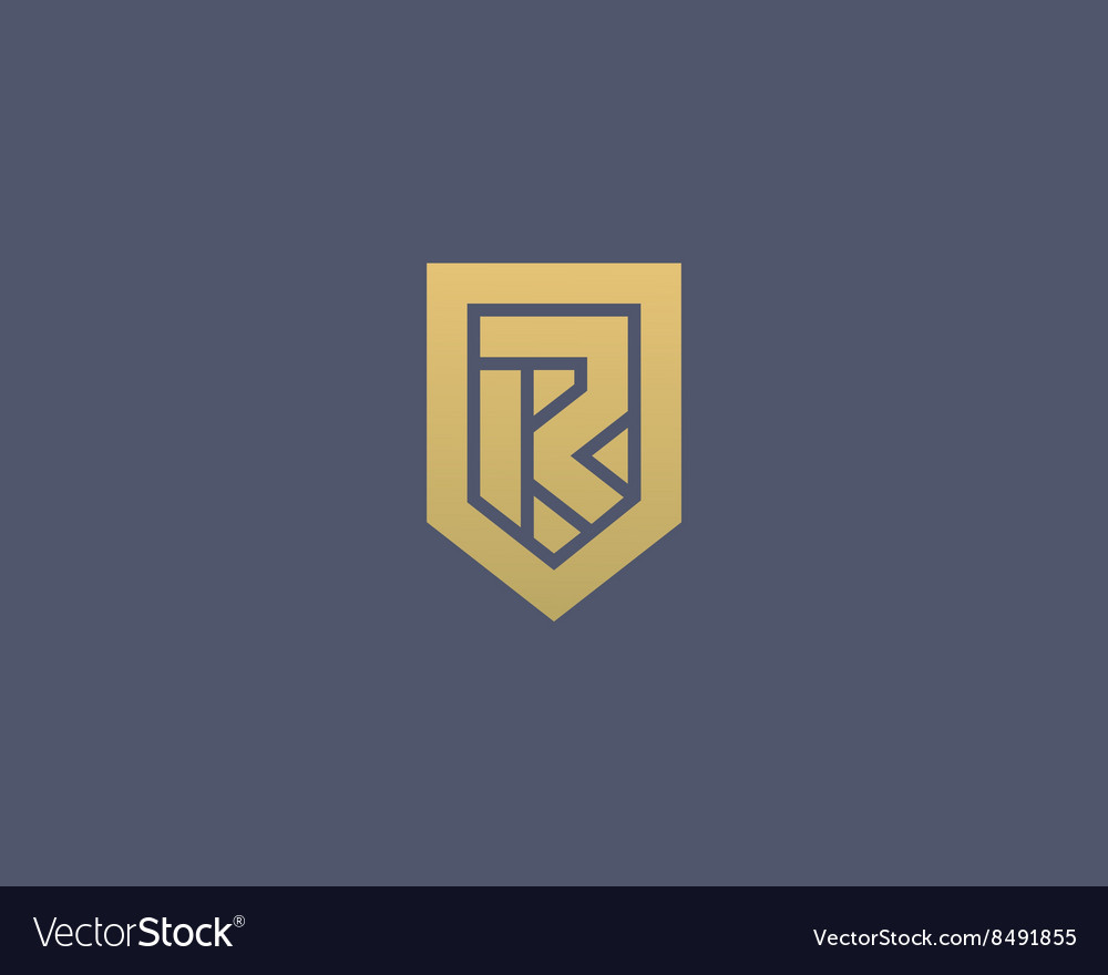 Abstract letter R shield logo design template