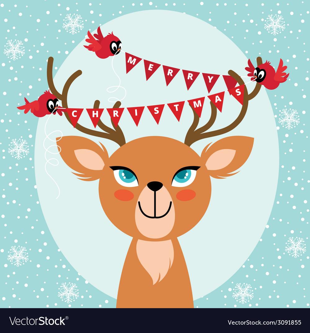 Birds and Christmas reindeer