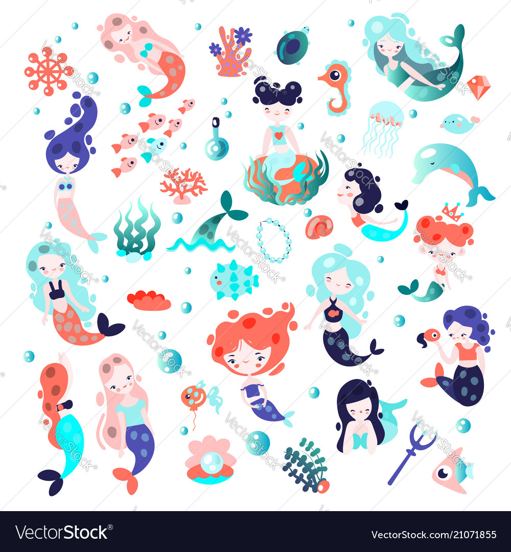 Collection of cute cartoon mermaids with
