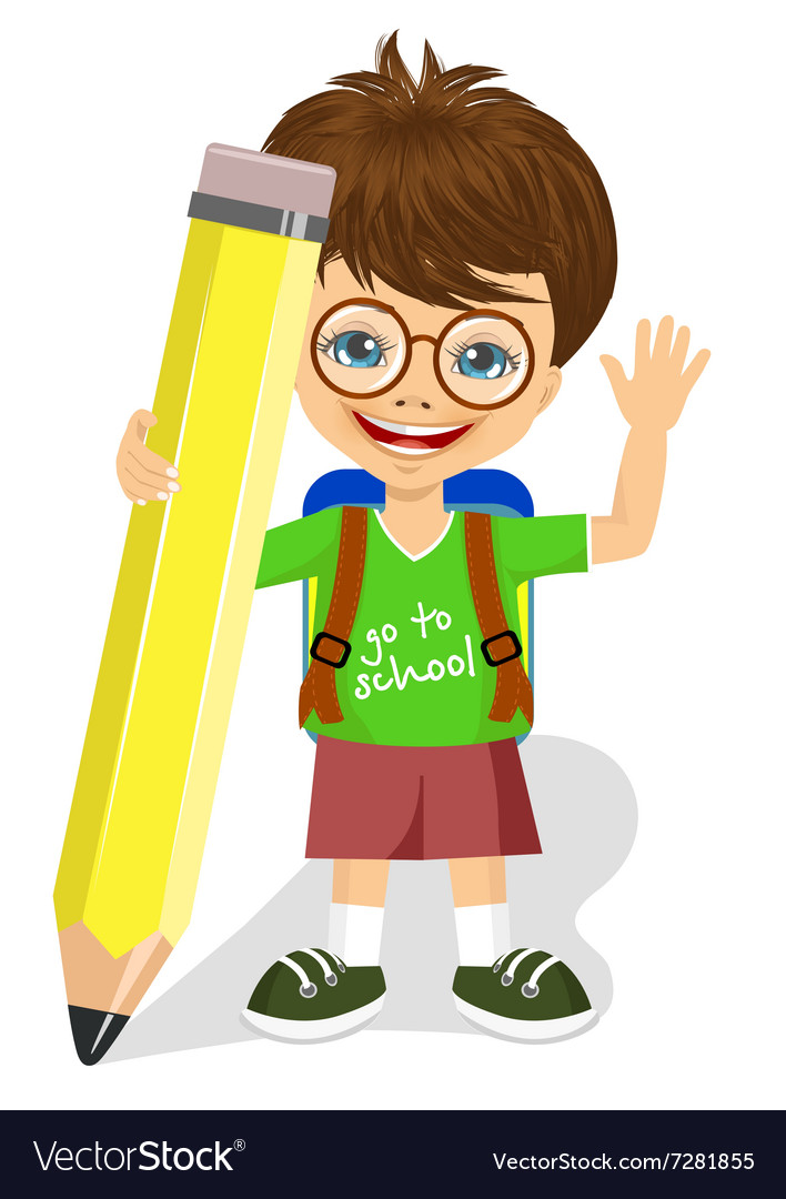 Cute little boy holding big yellow pencil