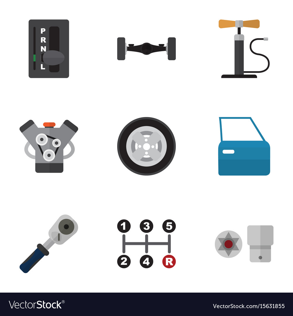 Flat Icon Auto Set Automatic Transmission Vector Image