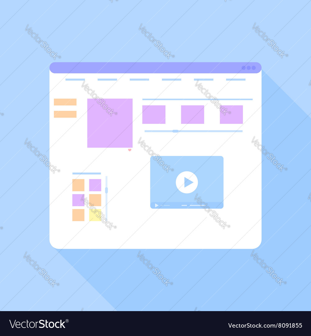Flat site template on a blue background