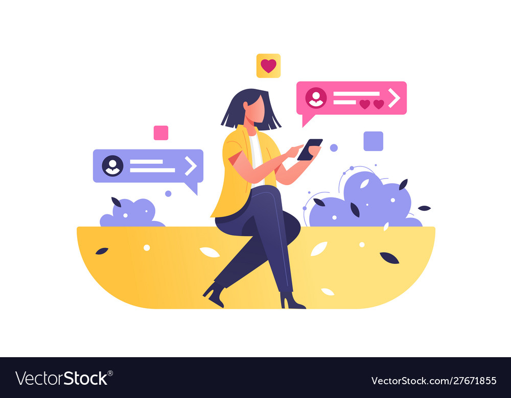 Girl surfing internet on modern smartphone