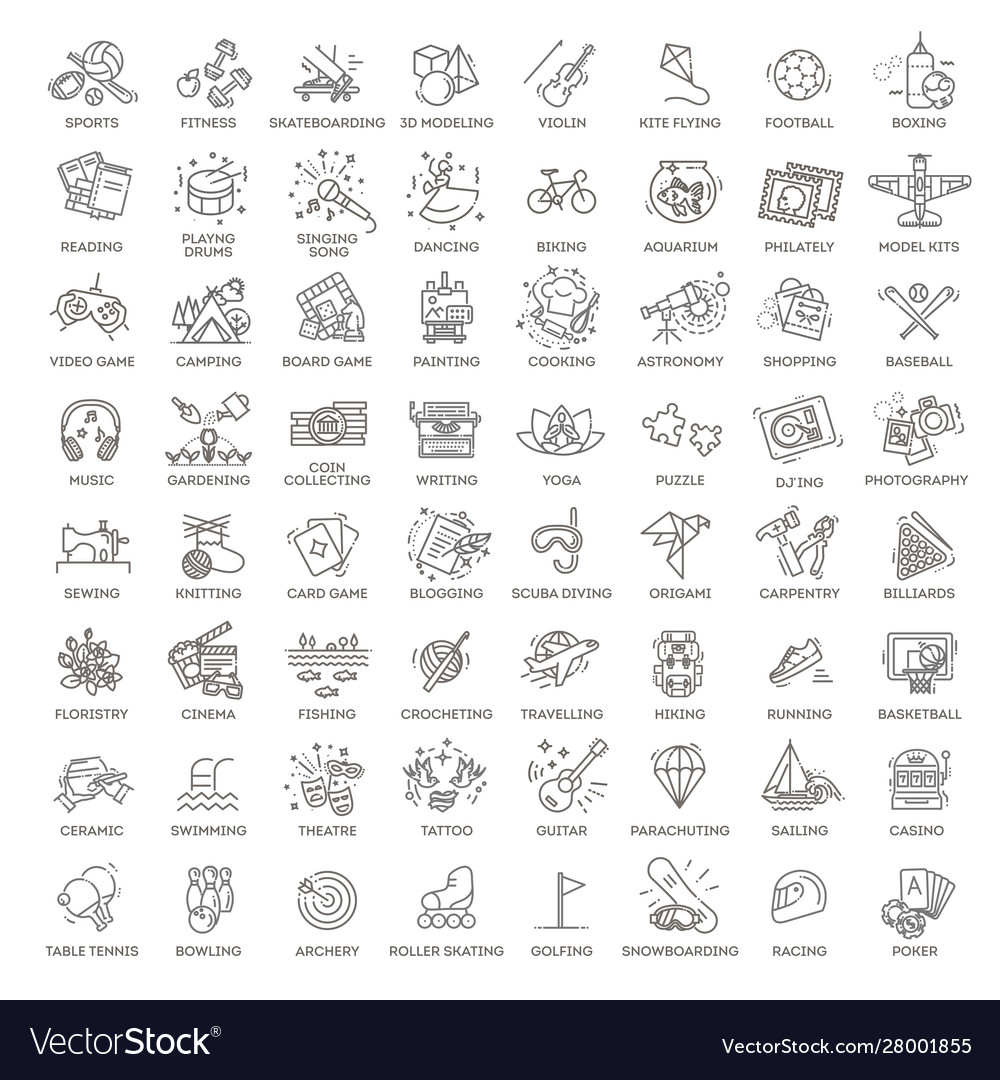 Hobbies and interest detailed line icons set