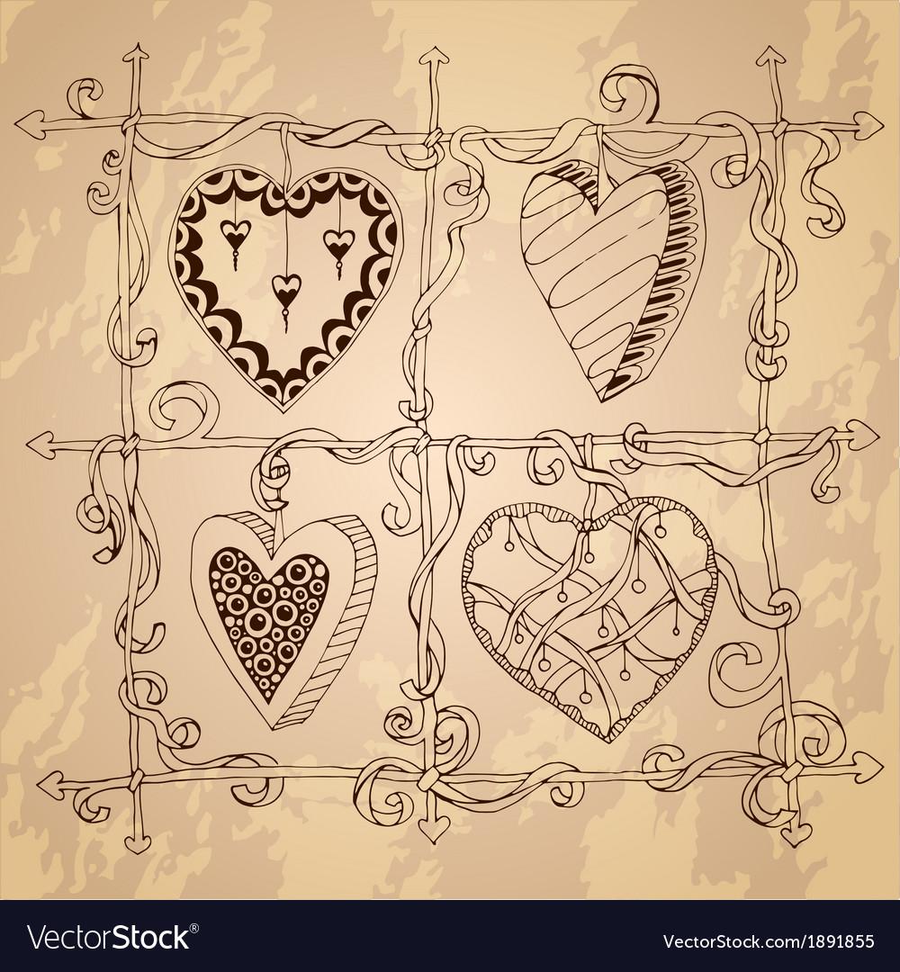 Original drawing doodle hearts vector image