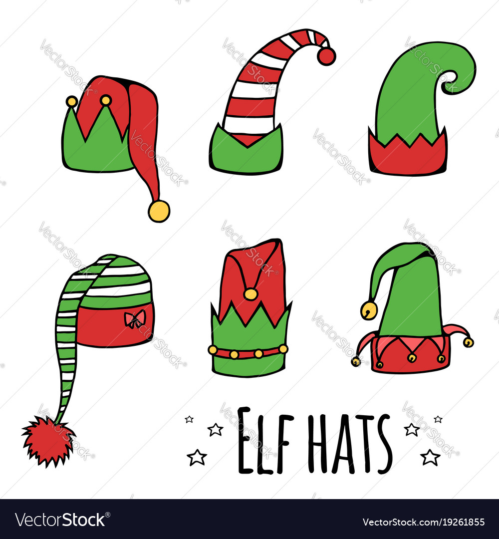 Set of cartoon elf hats