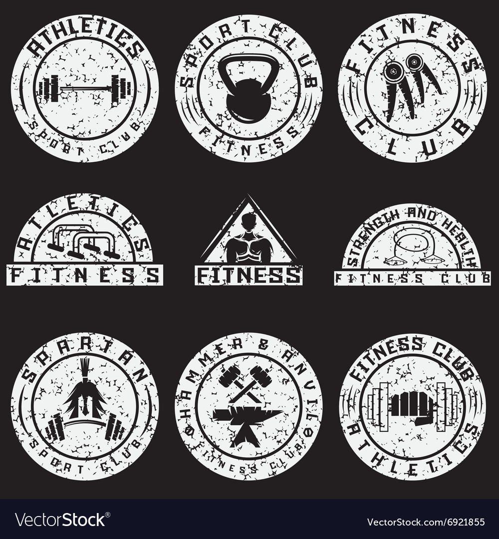 Set of various fitness grunge labels and design