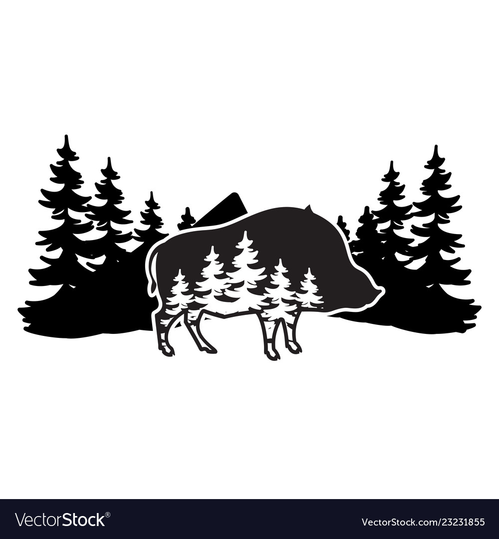Stylized monochrome with boar and