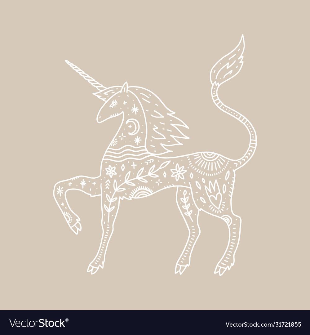 Unicorn and night landscape inside double