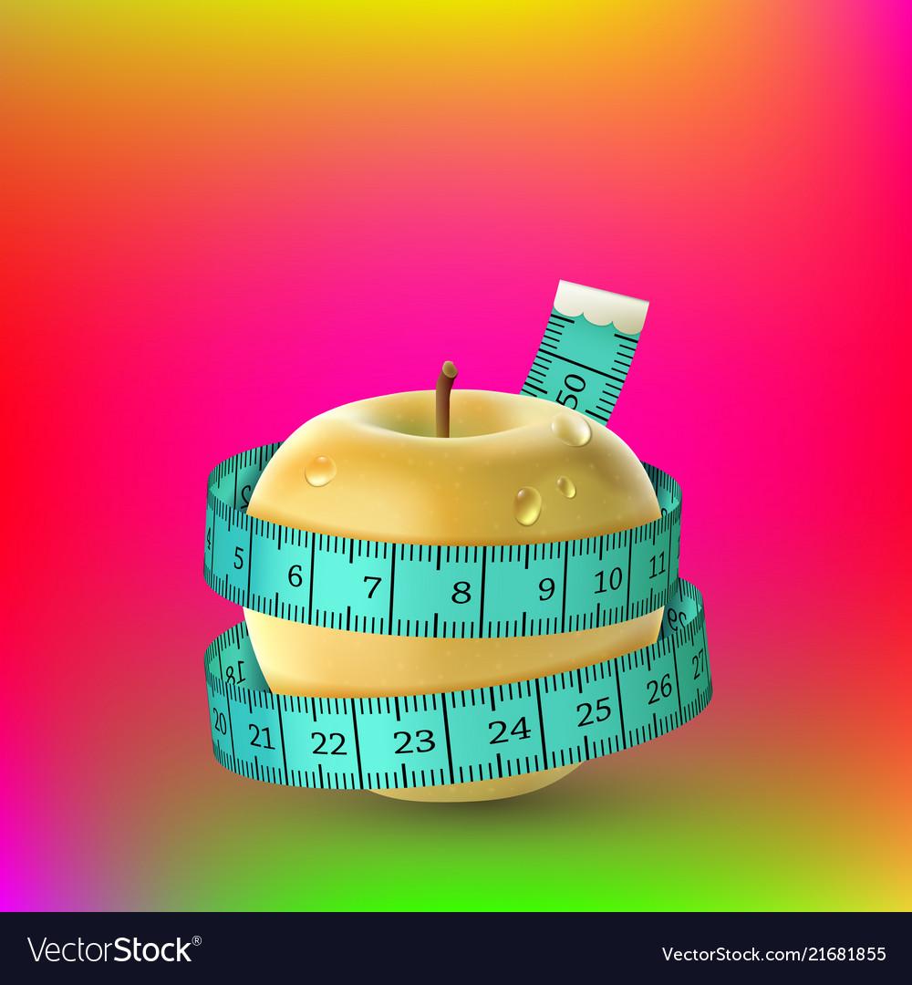 Yellow fresh apple blue measuring tape diet