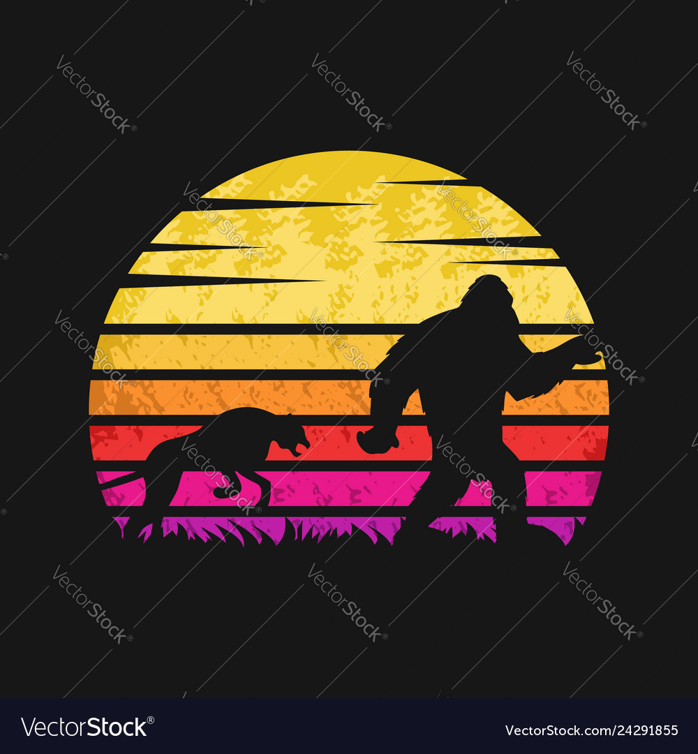Yeti and cheetah sunset retro