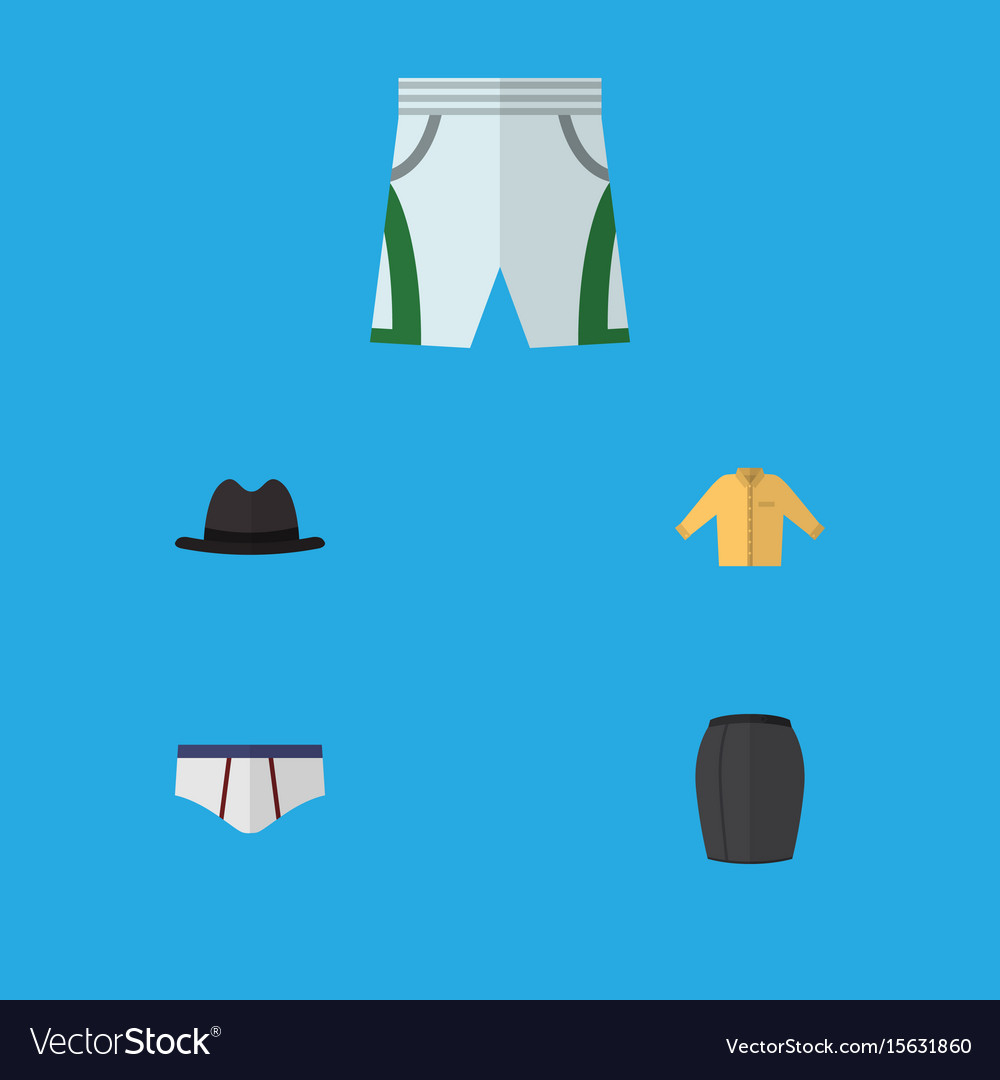 Flat icon clothes set of trunks cloth