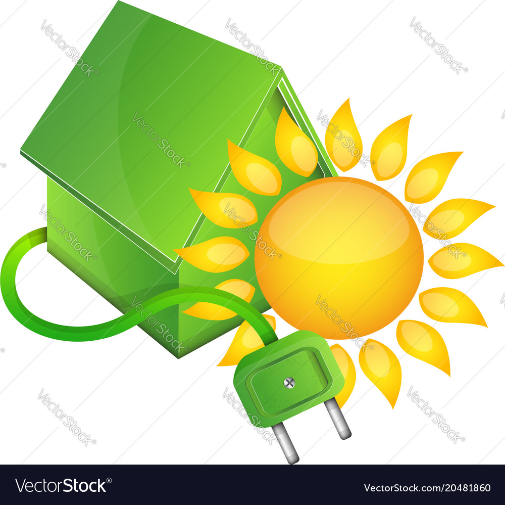 House bio and sun vector image