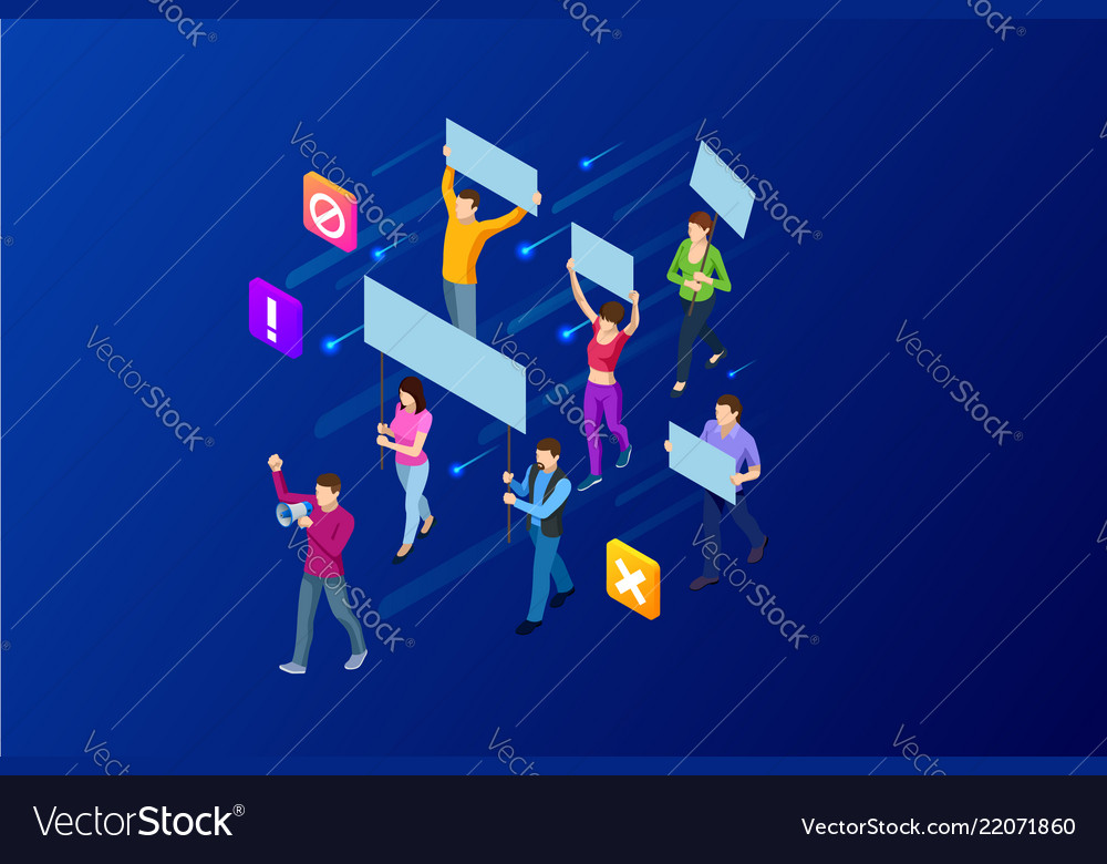 Isometric crowd of people protesters male and