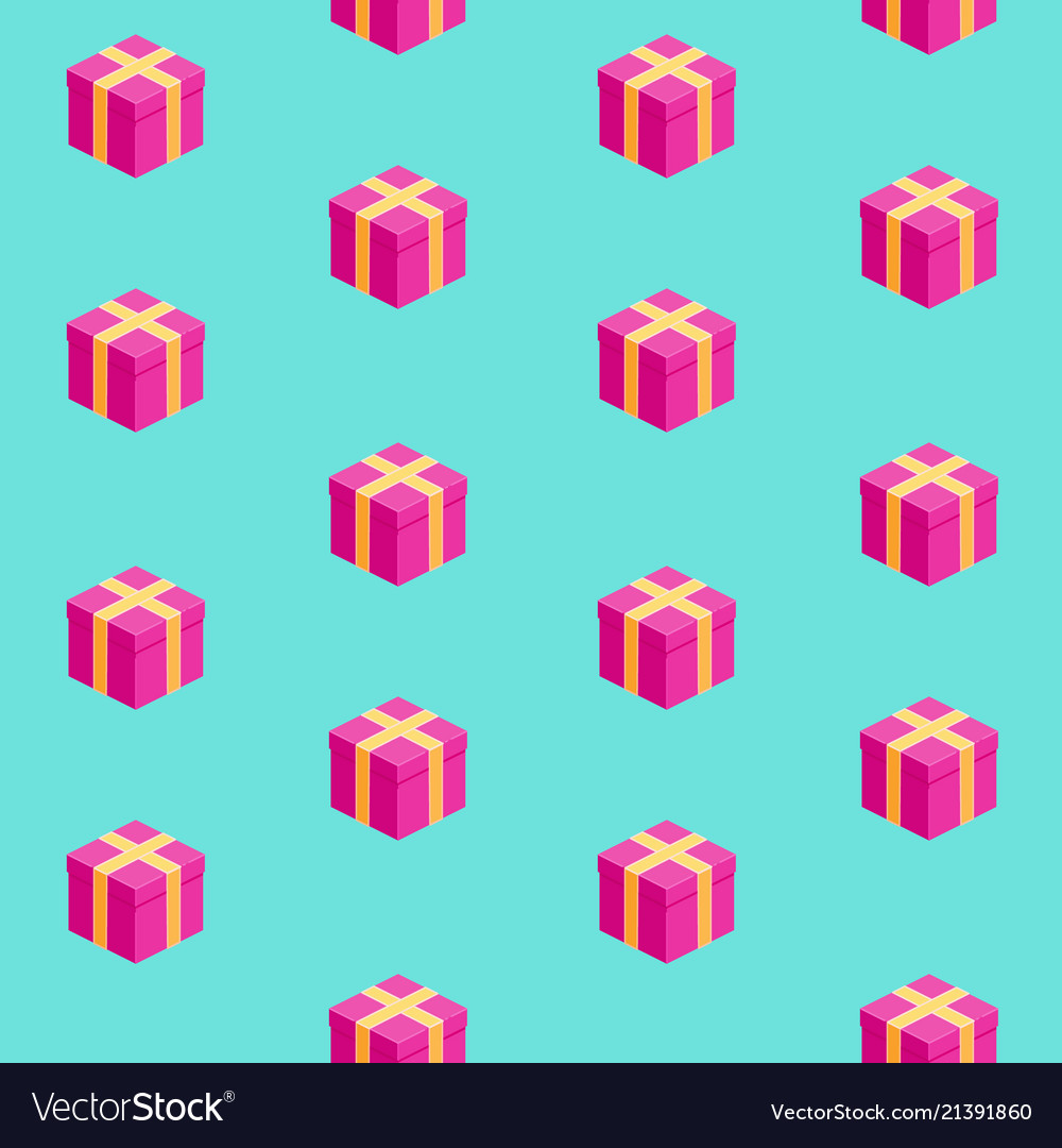 Isometric gift boxes seamless pattern
