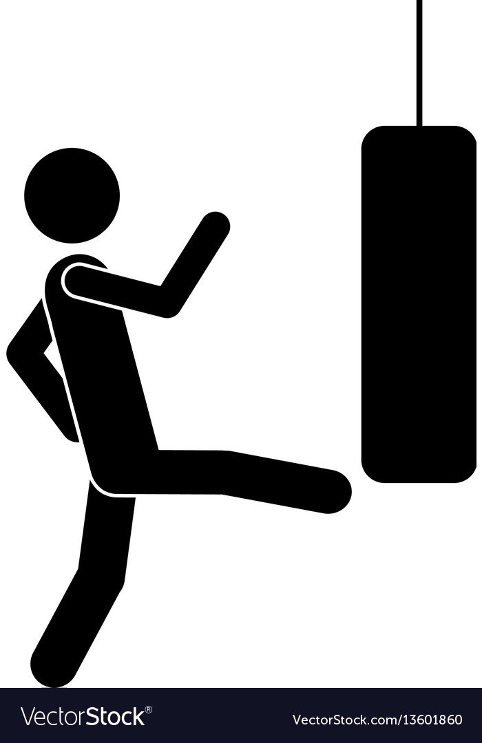 Monochrome pictogram with man kicking a punching vector image
