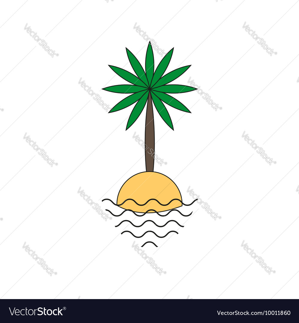 Palm tree on a small island icon vector image