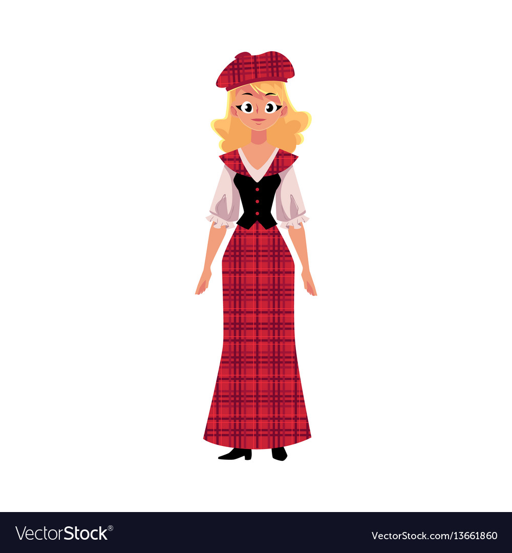 Scottish woman in national costume tartan beret vector image