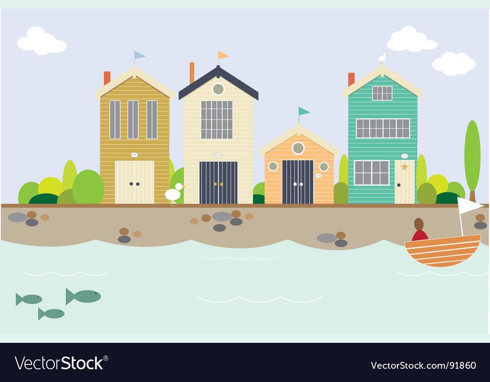 Seaside houses vector image