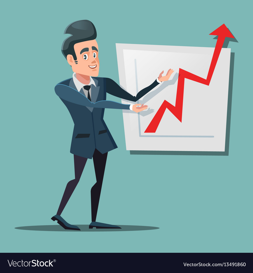 Successful businessman pointing on growth chart