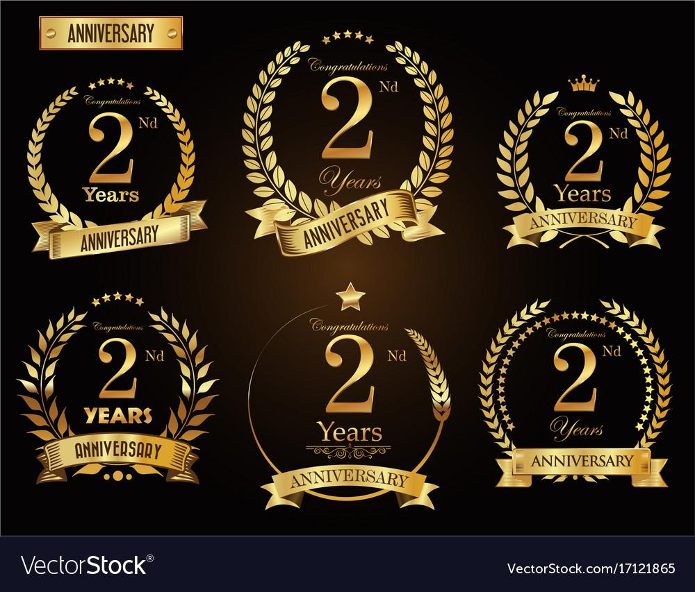 Anniversary golden laurel wreath 2 years