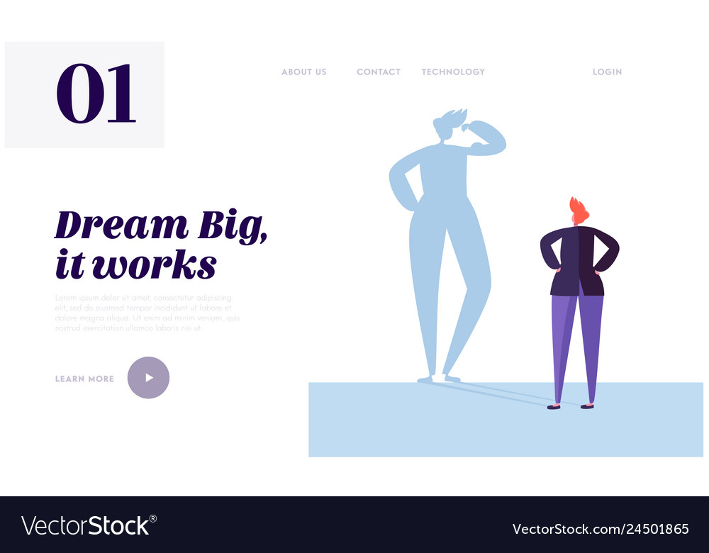Big dream landing page character has life goal