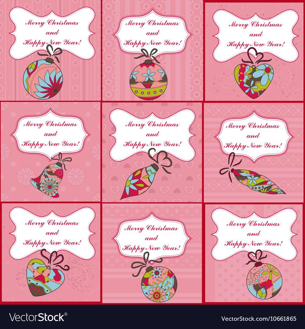 Big set of mini christmas cards Royalty Free Vector Image
