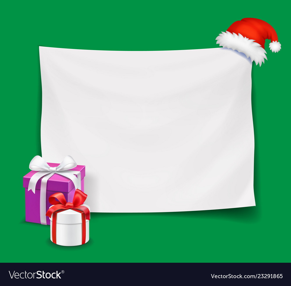 Blank christmas banner with santa hat