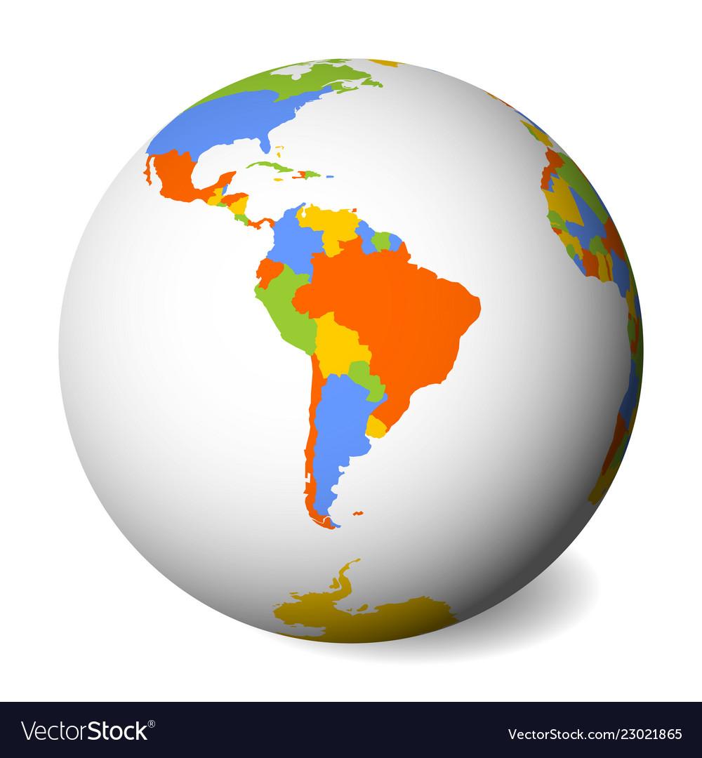 Blank Political Map Of South America Earth Globe
