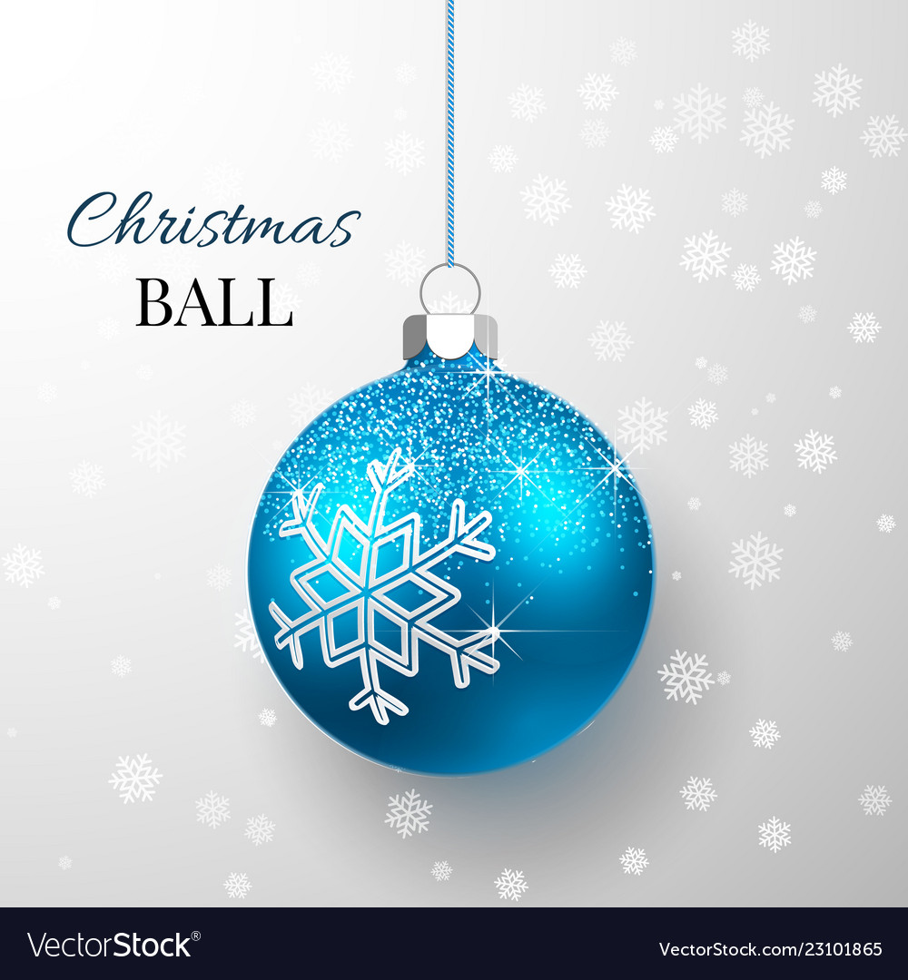 Blue christmas ball with snow effect xmas glass