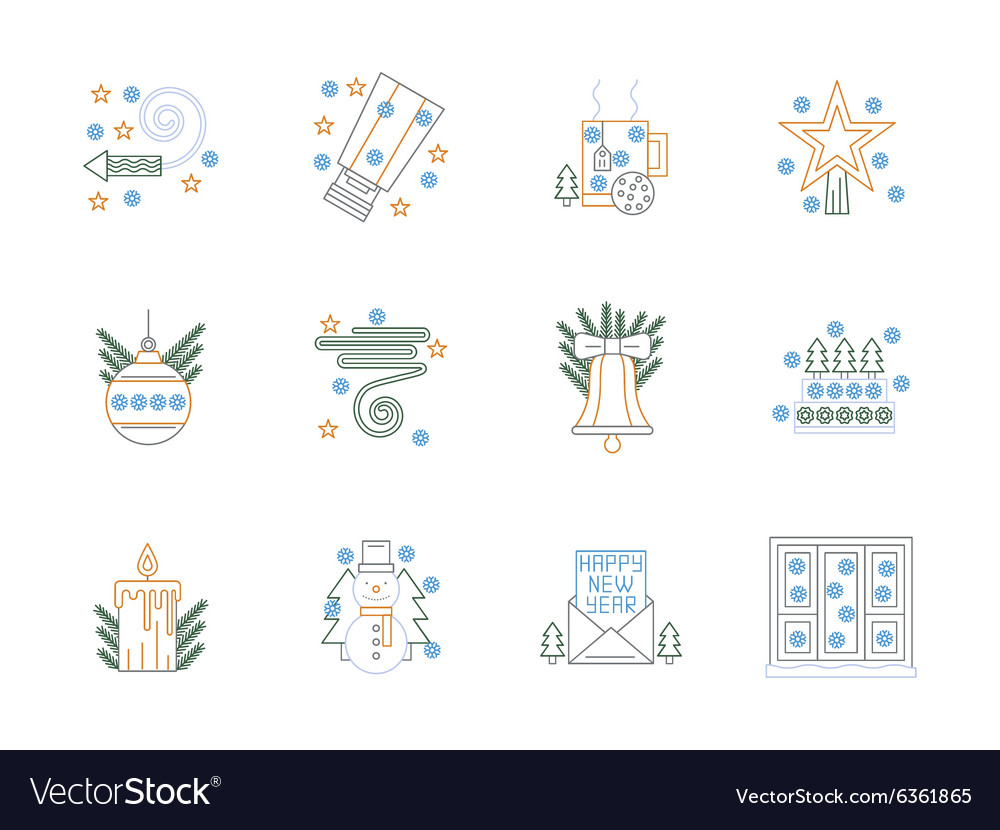 Flat color line Christmas icons set